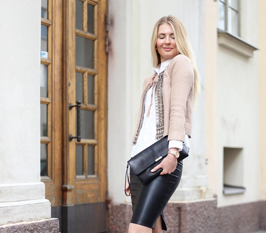 black leather skirt 36