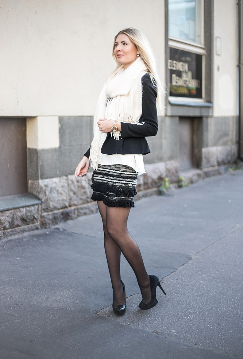 black white outfit